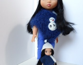 204. French and english knitting pattern PDF - Poncho and hat for doll Disney Animator and mini Disney Animator