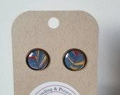 Marbled Paper Earrings - Bookish Earrings - Marbled Earrings - Bookish Jewelry - Librarian Earrings