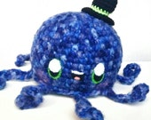 Dapper Plush Octopus With Top Hat / Amigurumi Fish Manga Doll/ Blue Squid Handmade Anime Plush Toy Octopi Kawaii Squid Plushie
