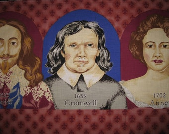 Kings and Queen Fabric Portraits.  Six Faces approx. 5x7inches