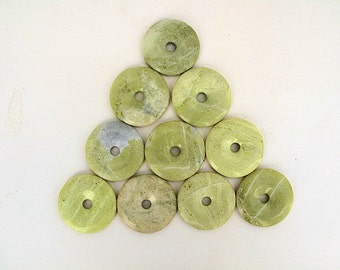 10 Serpentine Donuts Polished, Drilled and Same Size at 2 inches in Diameter-WHOLESALE