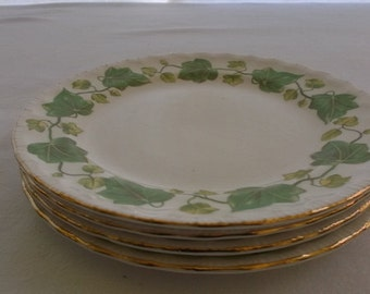 Vintage Plates, Salad Plates, Sandwich Plates, Dessert Plates, Pope Gosser China, American Ivy, Green Ivy with Gold Edge, 4 Pieces