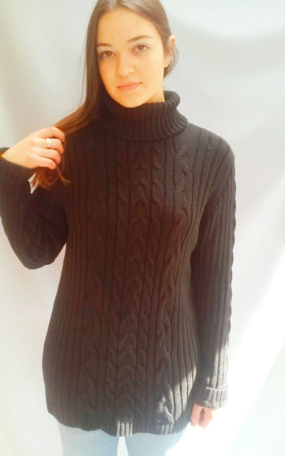 Metallic sweater/ cable knit sweater / faded black /  s - m