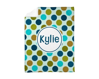 Fleece Blanket Personalized Monogrammed Polkadots Polka Dots Forest