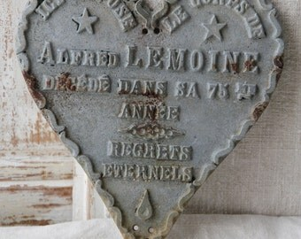 French metal memorial heart from early 1900s