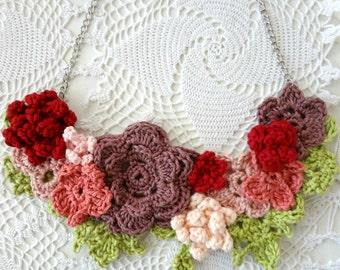Crochet Flower Necklace,summer garden collection of flowers,crochet necklace,flower necklace,romantic, bohemian,shabby chic, tulle rosette