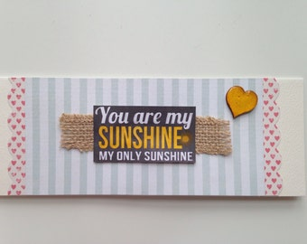You Are My Sunshine handmade card | happy, bright, scalloped, hearts, wooden, heart, stripes, glossy, jute, ribbon, hessian, natural twine