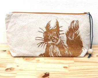Squirrel birds clutch bag, large pencil case, camel zip, cute clutch, block printing, handmade