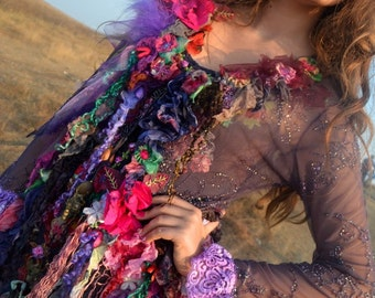 Transparent jacket size M/S Bohemian romantic altered couture  embroidered and beaded jacket silk Art To Wear floaty jacket gypsy mori girl