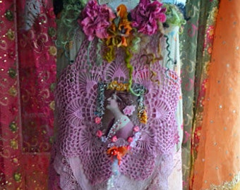 Bohemian vintage style art to wear top altered couture one of a kind top gypsy mori girl fairy dress