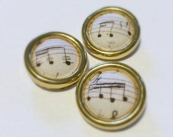 Set of 3 Fabric Covered Buttons, Music Notes Fabric, Vintage Sheet Music, 7/8 Inch Buttons