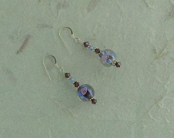 SALE: BLUE PINK Maroon Flower Swirl Lampwork w/ Swarovski Crystal Sterling Silver Earrings