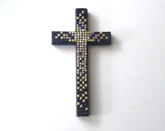 Purple and Yellow Mosaic Cross