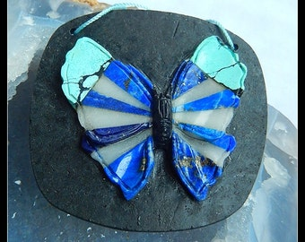 Turquoise,Lapis Lazuli,White Stone,Obsidian Intarsia Carved Butterfly Pendant Bead,58x60x7mm,37.86g