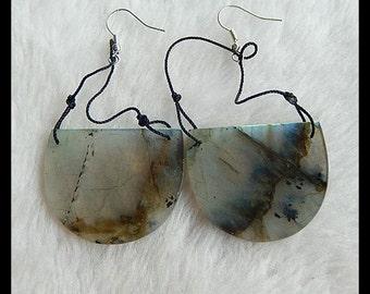 Labradorite Earring Bead,30x37x7mm,18.8g