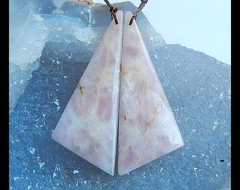 Pink Tourmaline Gemstone Earring Bead,50x19x4mm,10.3g