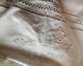 french antique cotton sheet, white cotton, bedding, bedlinen, jp, monogram, French vintage linen and lace, flat sheet by ancienesthetique
