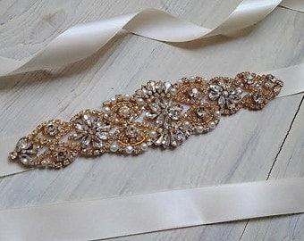 Gold Bridal Crystal Sash. Rose Gold Rhinestone Pearl Applique Wedding Belt. Silver Bridal Sash. VINTAGE MODE GOLD