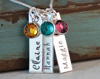 Three vertical tags with birthstone / Mommy Necklace / Bar Necklace / Personalized Hand Stamped Jewelry