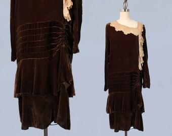 1920s Dress / 20s Silk Velvet and Lace Dress