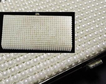 Vintage Evening Clutch - 1950s J.R. Formal Pearl Bag - 50s Small Box Purse - Bridal Option