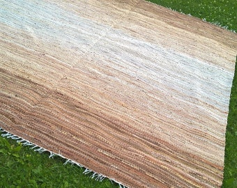 Extra Large Handwoven  vintage look, area rag rug -7.02 ' x 7.87'brown, light beige,beige, cream. Ready for sale