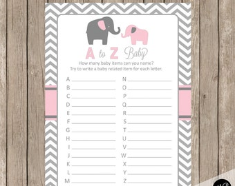 Elephant Baby Shower Game Pink and Gray Baby Shower Game -  A to Z Baby, pe1