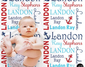 Nautical Baby Name blanket, personalized baby gift, anchor blanket, boy baby blanket, personalized blanket, receiving blanket