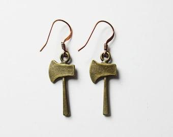 Ax Hatchet Earrings Antique Brass Tone Ax Hatchet Charm Earrings on Copper Ear Hooks Weapon Jewelry