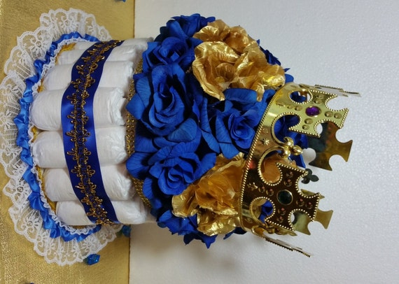 DIAPER CAKE Centerpiece With Crown For Royal Prince Baby ...