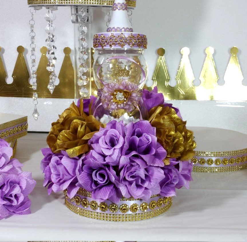 Baby Shower Decorations Table Settings: Girls Princess Baby Shower Centerpiece With Lavender & Gold
