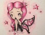 INSTANT DOWNLOAD Digi Stamp Digital Big Eye Art ~ Starlynn Queen of the Spooky Starlight Sugar Web Fairies Image No.160 & 160B by Lizzy