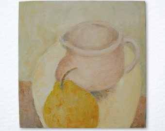 Original acrylic still life painting, 'Jug and pear', gallery wrap canvas ready to hang
