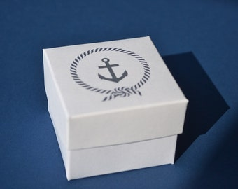Nautical Party favor bag and box  blue anchor, customizable can add your text or name