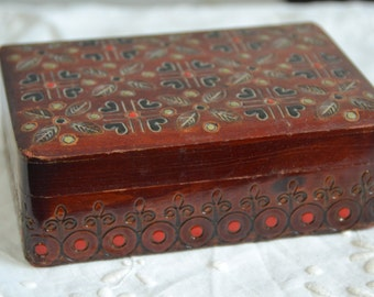 Vintage Handcarved Wood Jewelry Box Made in Poland