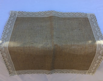 Burlap and Lace Table Square, 20 inch Square, Wedding, Centerpiece, Party, Home Decor, Custom Size, Large Order Available