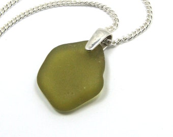 Sea Glass Necklace Seaweed Green on Sterling Silver  KARINA