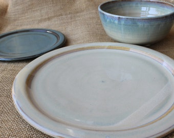 3-piece dinnerware set, Mix and match, Stoneware, Pottery, Wheel thrown, Dinner plate, salad plate, bowl, made to order