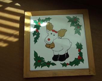 Cute Reindeer Tile Trivet - Vintage - CHRISTMAS