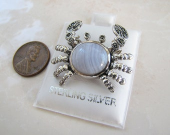 Sterling Silver Marcasite Crab Pin / Brooch with Blue Lace Agate