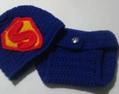 Custom Crocheted Personalized Superman/Super Women Blue Red and Yellow Newborn Baby Photography Prop Hat and Adjustable Reusable Pants