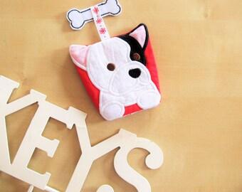 Peeking bulldog head, key case, key fob, key cover, keys pocket, ITH In The Hoop Machine Embroidery design In-The-Hoop x4 5x7