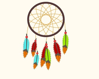 Dream Catcher embroidery design - 4x4 and 5x7 Dream Catcher, feathers, Native American design, dream embroidery,  beautiful embroiery