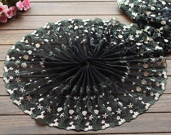 2 Yards Lace Trim Aulic Floral Embroidered Black Tulle Lace 10.23 Inches Wide High Quality
