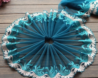 2 Yards Lace Trim Lakeblue Floral Embroidered Tulle Lace 9 Inches Wide High Quality