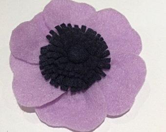 Lilac anemone felt brooch