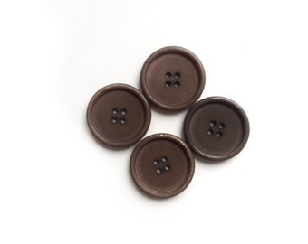 4 Large Brown Vintage Buttons, 30mm