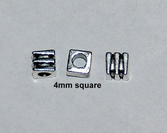 23 pcs 4mm Antique Silver Square Spacer Beads-Retro Style