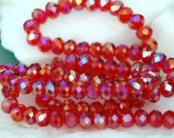 20 pcs 6x4mm Transparent Red AB with Gold Highlights Faceted Rondelle Crystals