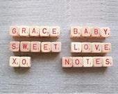 Vintage Letter Cubes - grace baby sweet love xo notes wood blocks